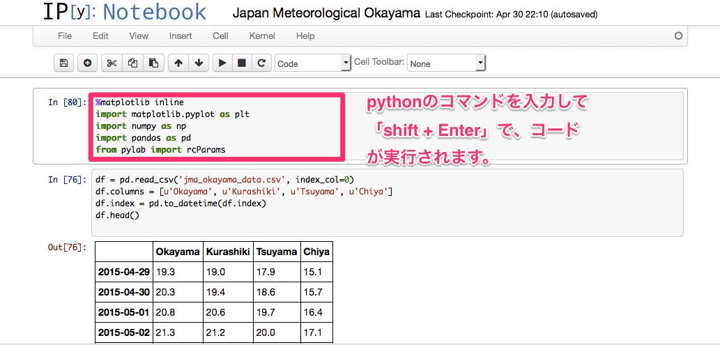 IPythonでコードを実行